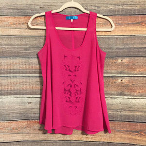 Francescas buttons embroidered tank top